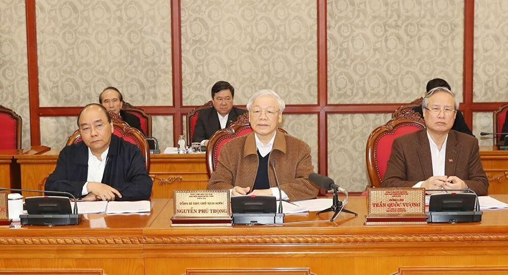 Tổng Bí thư, Chủ tịch nước Nguyễn Phú Trọng chủ trì cuộc họp của Bộ Chính trị về công tác phòng chống dịch bệnh COVID-19